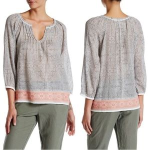 Joie Cheree Boho Blouse with Embroidered Hem S